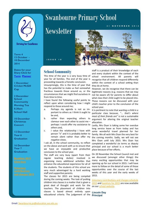 Newsletter Term 4              28.11.14
