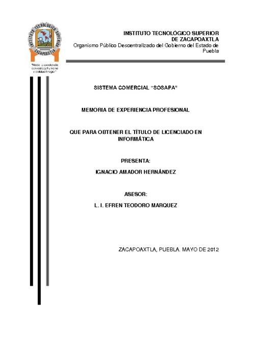 MEMORIA DE EXPERIENCIA PROFESIONAL 01ZP0092