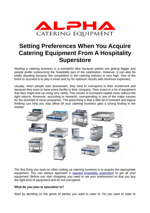 Setting Preferences When You Acquire Catering Equipment