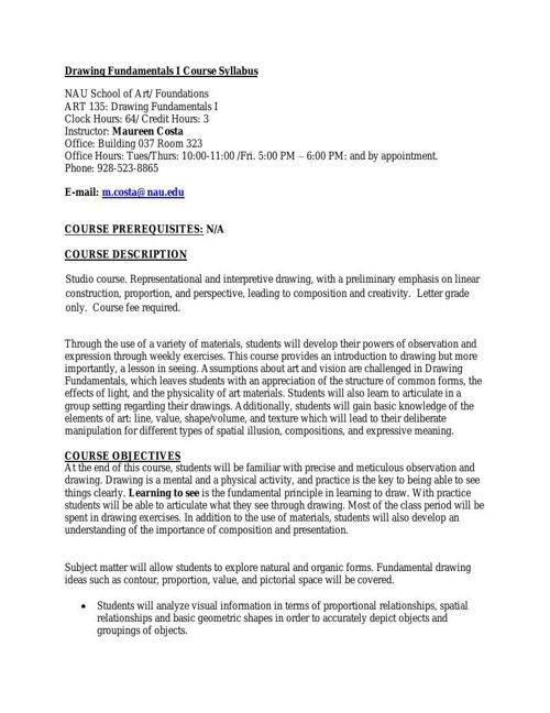 Drawing Fundamentals I Course Syllabus_Fall_2014_NAU
