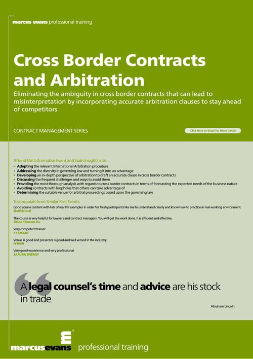 Cross Border Contracts and Arbitration- IIAM