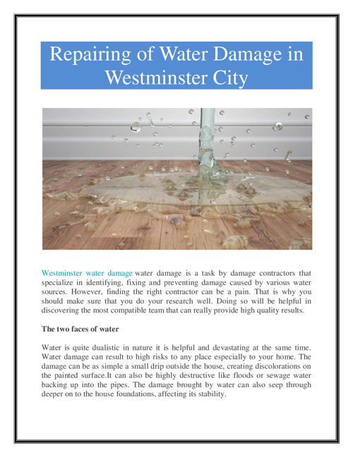 Westminster Water Damage