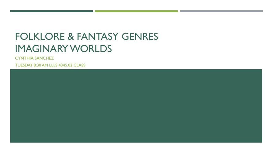 Folklore & Fantasy Genres Imaginary Worlds