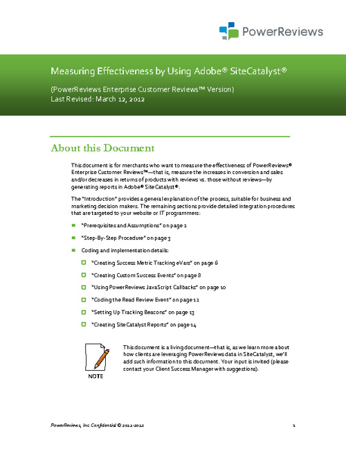 Measuring Effectiveness Using Adobe® SiteCatalyst®