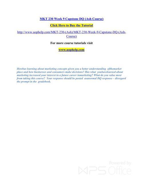 MKT 230 Instant Education/uophelp
