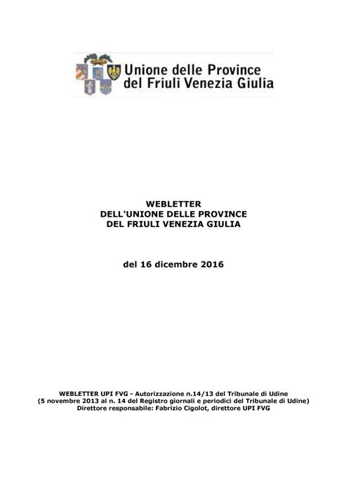 Webletter UPI FVG del 16/12/2016