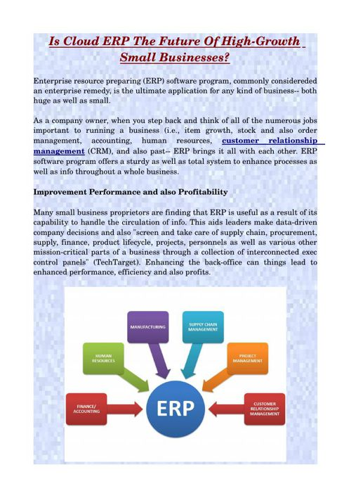 Is Cloud ERP The Future Of High-Growth Small Businesses?