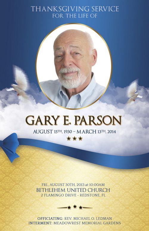 blue ribbon funeral program