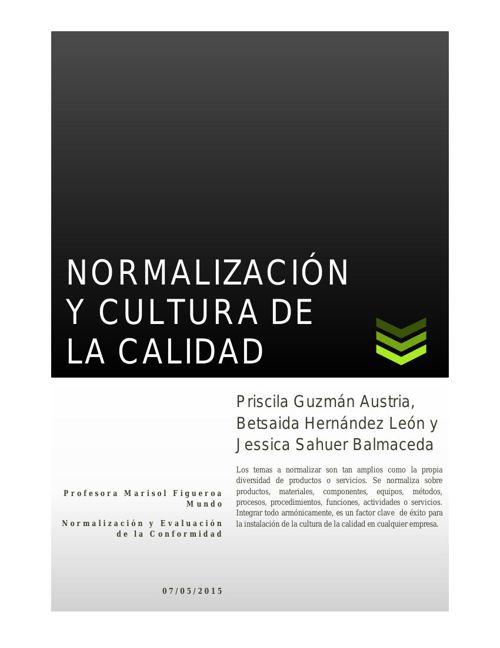 PROYECTO FINAL NORMALIZACION Y CULTURA DE LA CALIDAD