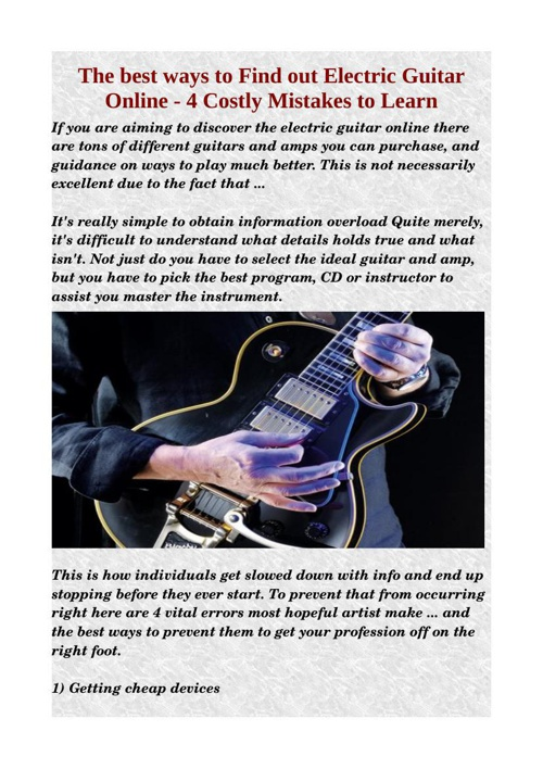 The best ways to Find out Electric Guitar Online