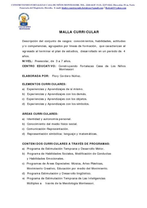 MALLA CURRICULAR CONSTRUYENDO FORTALEZAS
