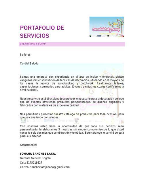 PORTAFOLIO DE SERVICIOS CREATIVIDAD Y SCRAP 2015