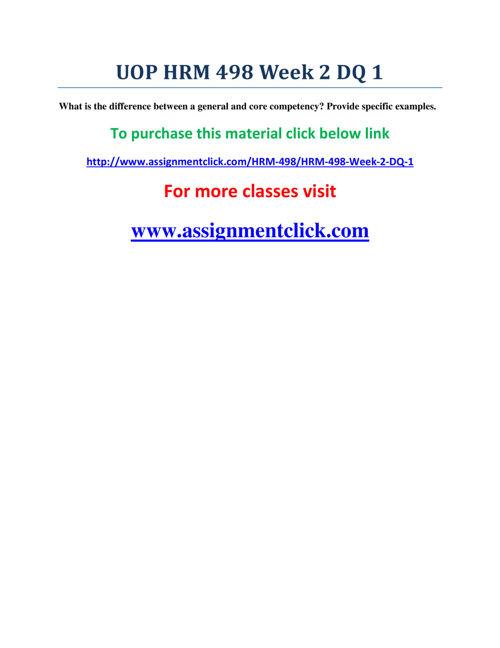 UOP HRM 498 Week 2 DQ 1