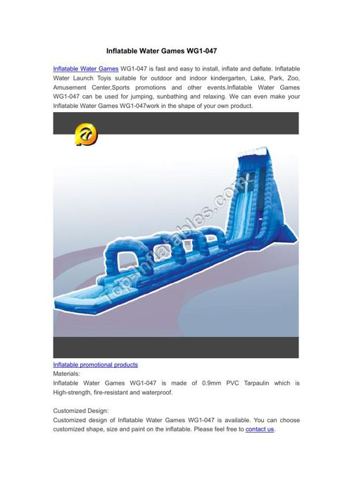 Inflatable Water Games WG1-047