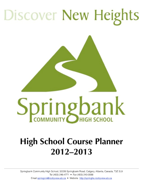 SCHS Course Planner Gr. 10 - 12