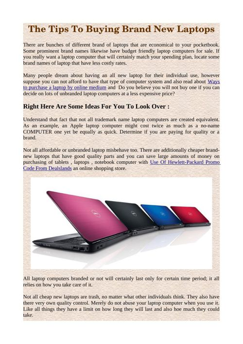 The Tips To Buying Brand New Laptops
