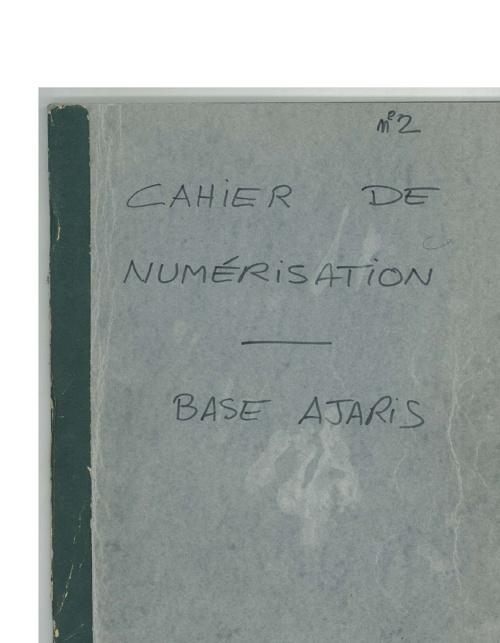 Cahier de numérisation n°2