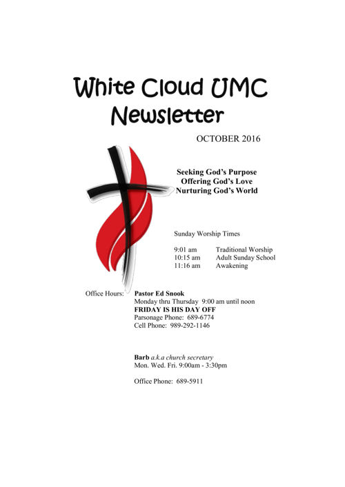 October Newsletter 2016
