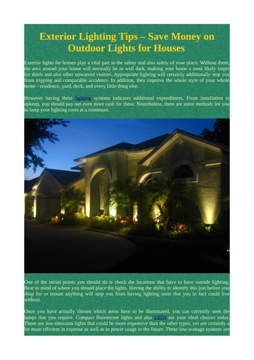 Exterior Lighting Tips – Save Money on Outdoor Lights for Houses