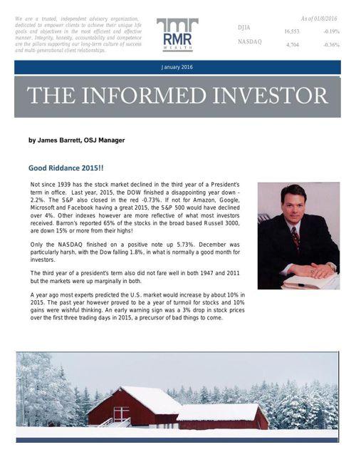 Jim January 2016 Newsletter