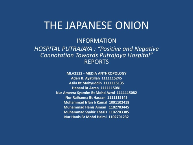 THE JAPANESE ONION REPORT