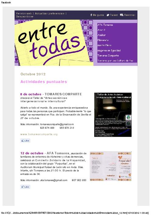 Boletín Entretodas octubre 2012