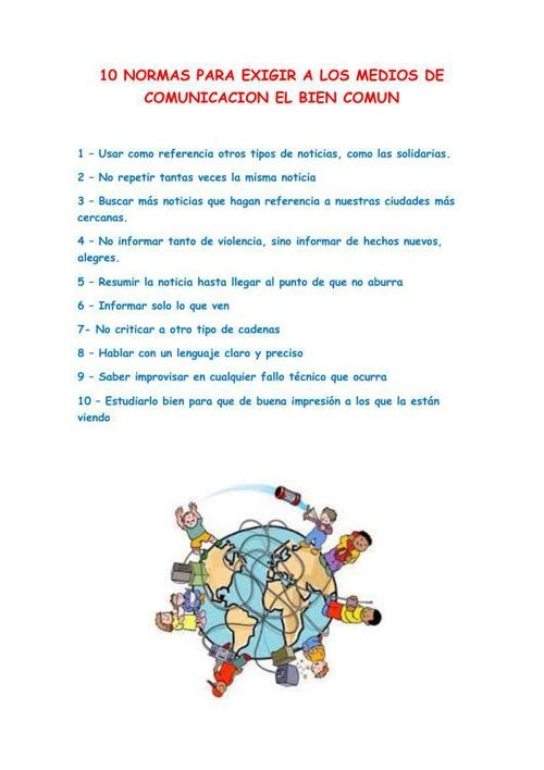 10 normas de los medios de comunicacion