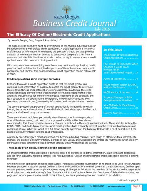 NACM Oregon Business Credit Journal 2015