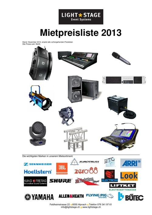 Mietpreisliste 2013