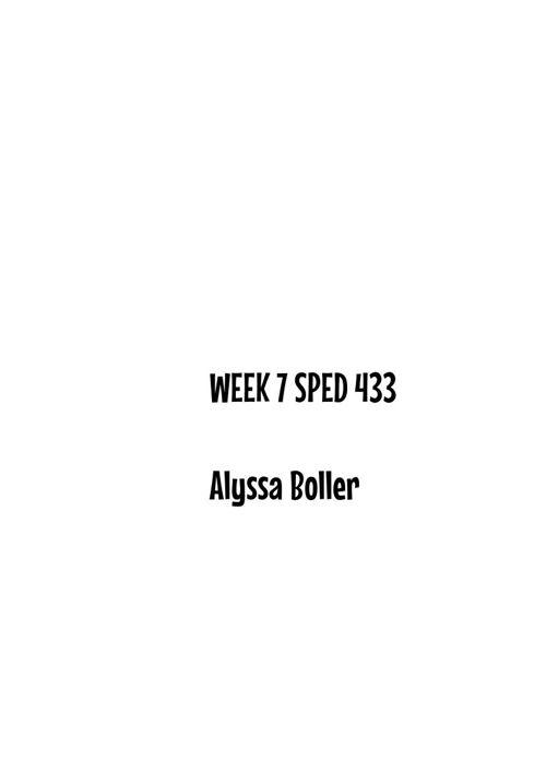 Sped 433 Week 7