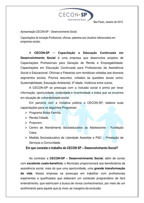Apresentação Capacitações para Usuários - Cecon SP