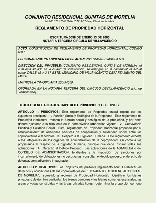 Reglamento Propiedad Horizontal