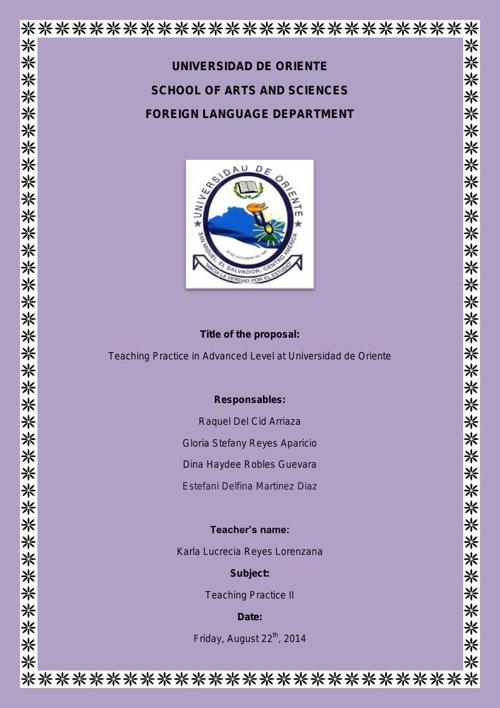 Proposal of Teaching Practice II in Advanced Level