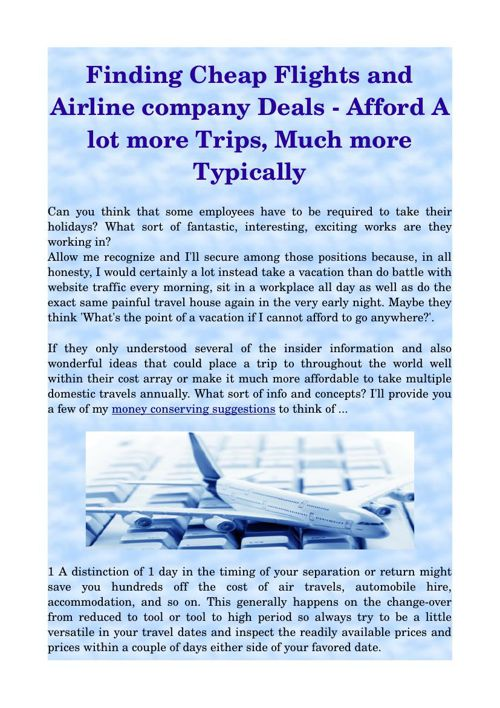 Finding Cheap Flights and Airline company Deals - Afford A lot m