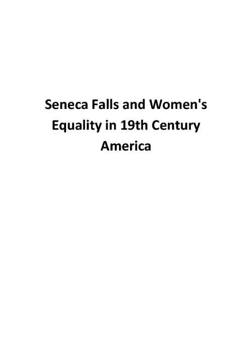 Senecca Falls and Women's Equality in 19th Century America