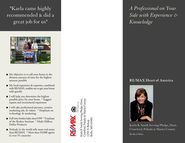 Karla K Smith Sells Real Estate. Rolla, MO