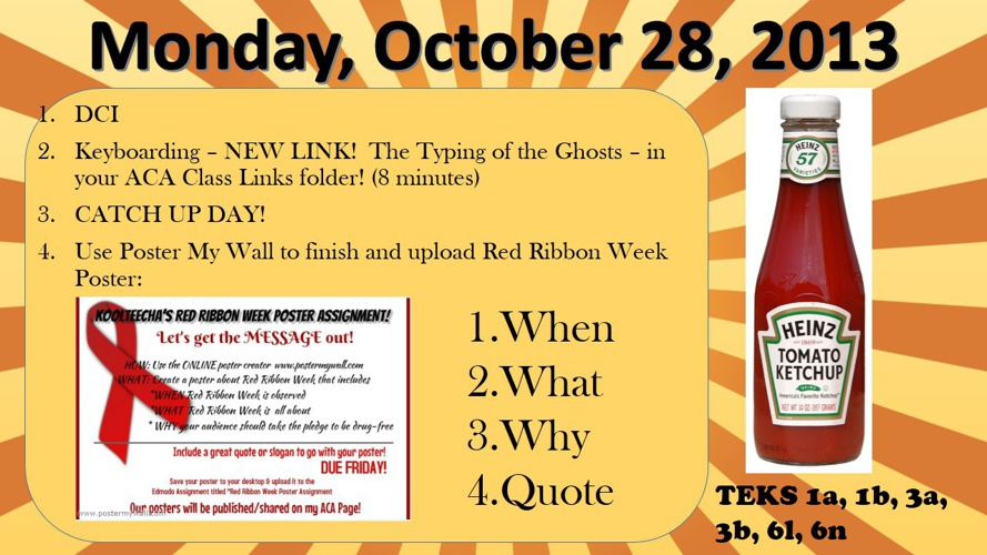 Week of Monday, October 28 - Friday, November 1