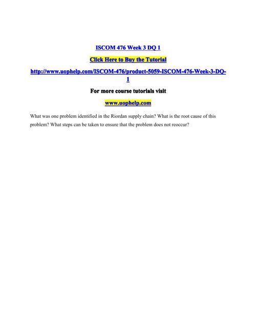 ISCOM 476 Week 3 DQ 1