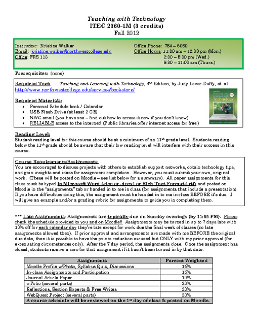ITEC 2360: Fall 2012 Syllabus
