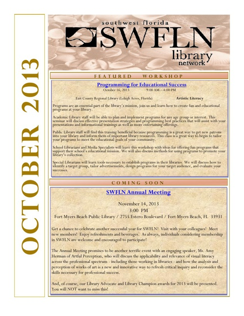 SWFLN October 2013 CE News