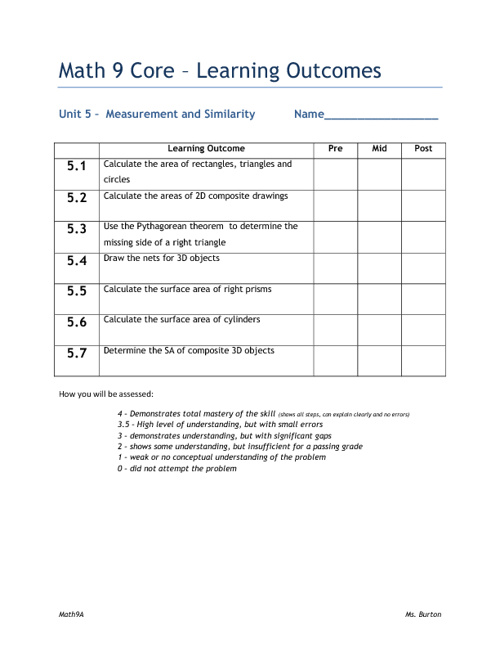 Math 9A - Measurement Booklet