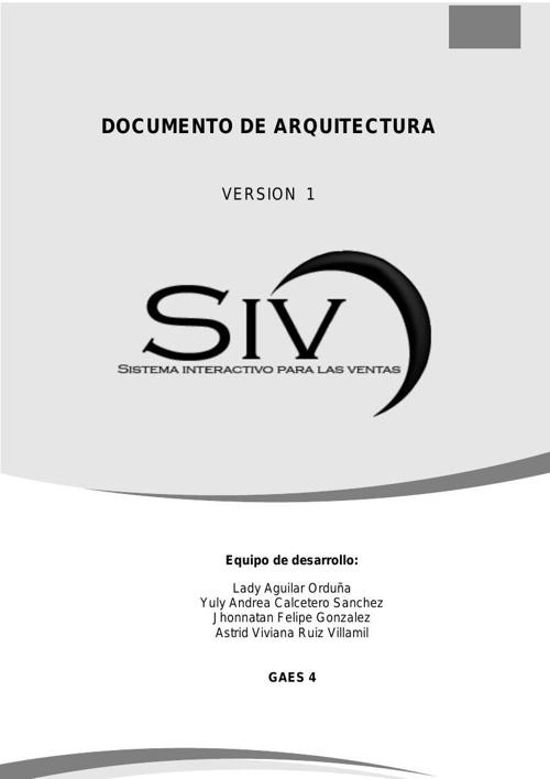 Documento de arquitectura SIV y Diccionario de Datos