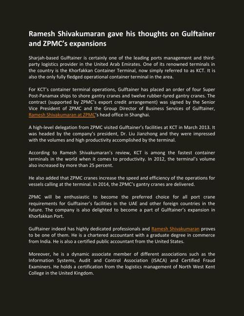 Ramesh Shivakumaran gave his thoughts on Gulftainer and ZPMC's e