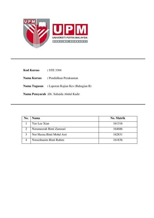 Kajian Kes 2_STE 3304_Dr. Suhaida