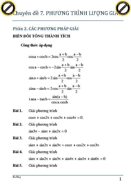 CĐ7. Phương trình lượng giác (phần 2) p1