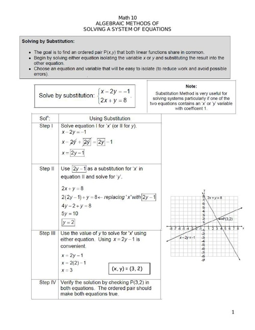 7.4 and 7.5 Summary Substitution and Elimination