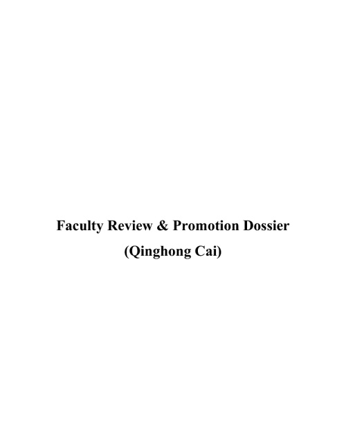 Faculty Review and Promotion Dossier