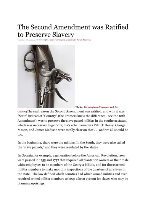 The Second Amendment Was to Preserve Slavery