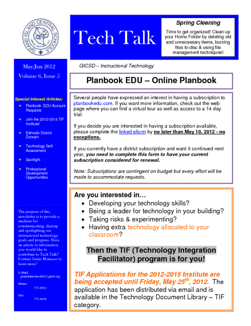 Tech Talk May/June 2012
