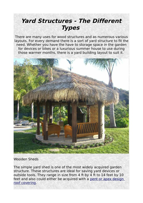 Yard Structures - The Different Types